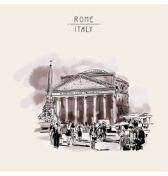 freehand watercolor sepia travel card from Rome vector image