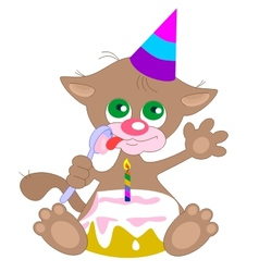 birthday cat vector image vector image