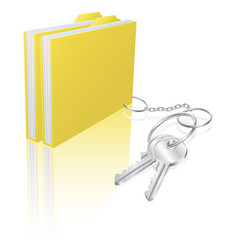 computer file keys document security concept vector image vector image
