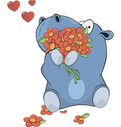 Little hippopotamus and flowers vector image vector image