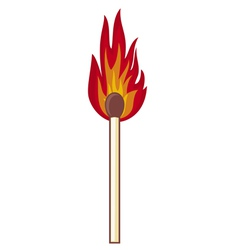 Burning match stick on a white background vector image vector image