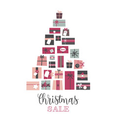 christmas sale pile of presents arranged as an vector image vector image