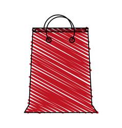 color crayon stripe cartoon red bag for shopping vector image vector image
