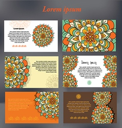 set of design cards for text with floral motifs vector image vector image