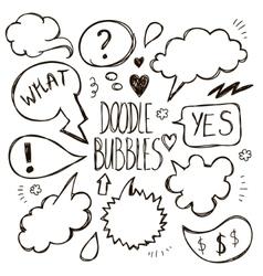 set of hand drawn doodle speech bubbles vector image