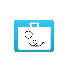 stethoscope on first aid box icon vector image