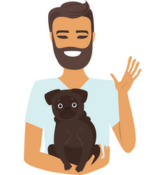 young man holding a dog vector image vector image