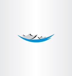 boat in lake sign logo vector image vector image