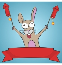 Crazy rabbit with rockets vector image