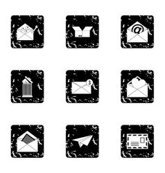 E-mail icons set grunge style vector image