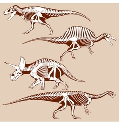 Gigantic dinosaurus silhouettes with skeletons vector image