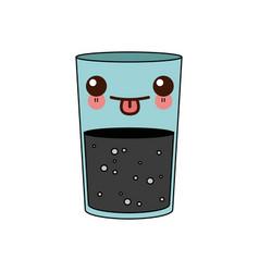 kawaii juice in a glass tropical healthy cartoon vector image