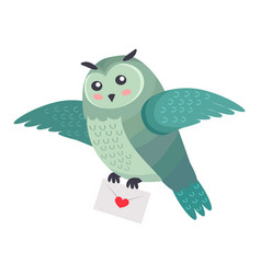 owl bird flying with letter of love with heart vector image vector image