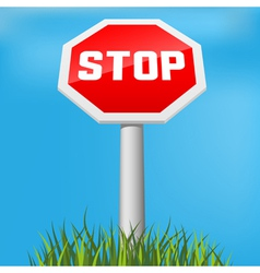 stop sign in grass vector image