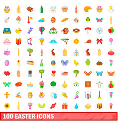 100 easter icons set cartoon style vector