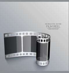 3d film reel strip background vector