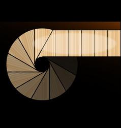 A darkened spiral staircase vector
