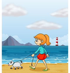A girl strolling at the beach with a puppy vector