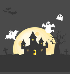 Abandoned house on graveyard with spooky tree vector