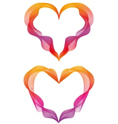 abstract ribbon hearts vector image