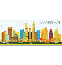 Abstract Shanghai Skyline with Color Buildings vector