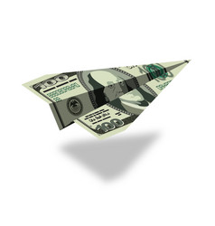 Aircraft dollars money banknote paper airplane vector