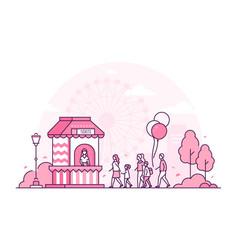 amusement park - thin line design style vector image