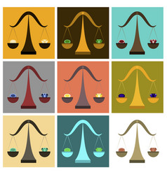 Assembly of flat icons coin and diamond scales vector