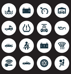 Auto icons set with garage airbag windscreen vector