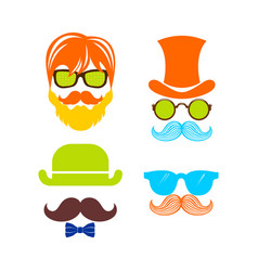 beautiful elements for cards with a mustache vector image
