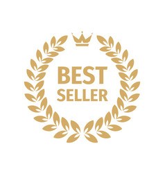 Best seller badge logo design gold laurel wreath vector