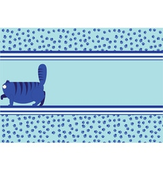 blue background with a fat cat vector image