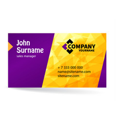 business card bright design with yellow background vector image