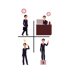Businessman going to work at workplace having vector