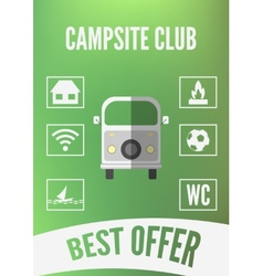 Campsite club promotion infographic with retro car vector