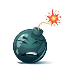 Cartoon bomb fuse wick spark icon disgust vector