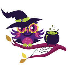 cartoon owl in halloween costume witch mystery vector image
