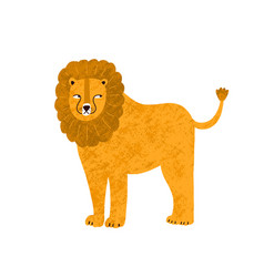 childish cute lion in simple scandinavian vector image