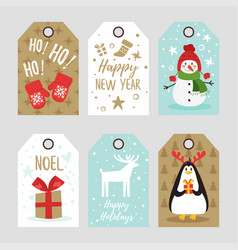 Christmas and new year tags vector
