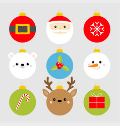christmas ball set santa claus bear snowman deer vector image