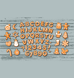 Christmas gingerbread alphabet and cute vector