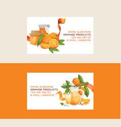 Citrus fresh orange fruit business card backdrop vector