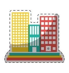 Colorful buildings and city scene line sticker vector