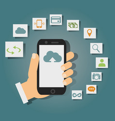 concept of cloud services on mobile phone such as vector image