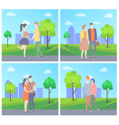 couples in love in city park skyscrapers nature vector image