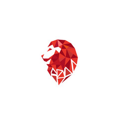 creative geometric red lion head logo vector image