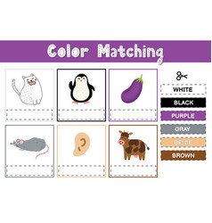 Cut and match colors educational game vector