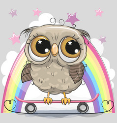 Cute cartoon owl with skateboard vector