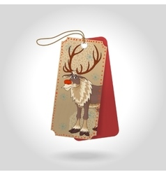 Cute christmas gift tags with red nose vector