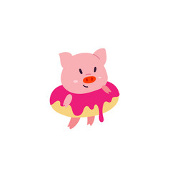 Cute little pig character with donut ring vector